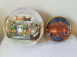 Pair: Vintage Danish Cookie Tins. Hans Christian Andersen + Jacobsens
