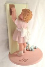 "Pink Green 5.5"" Bessie Pease Gutmann MAY WE COME IN Girl with Baby Figurine"