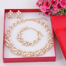 Imitation Pearl Gold Plated Simple Elegant Bridal Jewelry Sets White Kit Gift OE