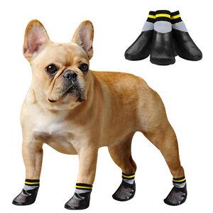 4pcs Non-Slip Dog Shoes Rain Socks Pet Waterproof Rubber Boots for Dogs Walking