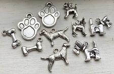 10PCS Antique Silver Dog & Cat Animal Assorment Charm Bundle 22-12mm