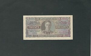 Ceylon - Twenty Five (25) Cents, 1942