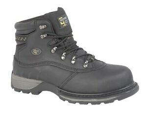 Mens Black Waxy Leather Safety Toe Cap Waterproof Grafters Boots Size 12