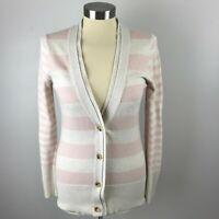 Banana Republic Womens XS Pink Gray Stripe Cardigan Sweater
