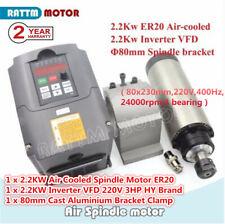 Cnc 22kw 220v Air Cooling Spindle Motor Er20 400hzhy Inverter Vfd80mm Bracket