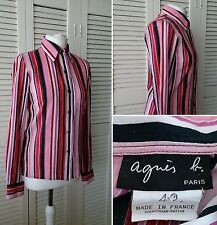AGNES B Paris Tailored Pink Striped Cotton Shirt UK 8-10 Smart Office Work