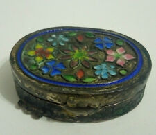 Vintage early 1900's Chinese cloisonne silvered pill box-very nice condition!
