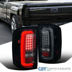 For 14-18 GMC Sierra 1500 2500 3500 Glossy Black Smoke LED Bar Tail Lights Lamps