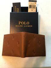 Polo Ralph Lauren BiFold Wallet Classic Tan Brwn Leather All over Pony Print Box