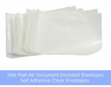 100x Self Adhesive A6 'Document Enclosed' Wallets - Clear Envelope Pockets