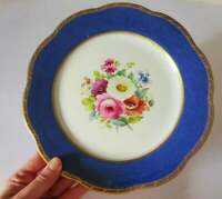 Adderley Ware Floral Dinner Plate with Cobalt Blue Border, 1940's England