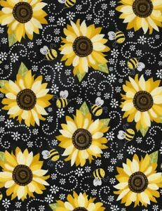 You Are My Sunshine Fabric - Sunflower Bee Black - Timeless Treasures YARD