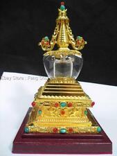 Golden Gold Buddhist Buddha Metal Alloy Vase Tibet Pagoda Crystal Stately Stupa