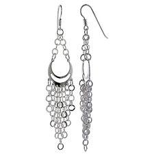 Sterling Silver Pear-shaped Chandelier Dangling Earrings w/ Rolo-type Chains