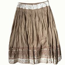 Somi Ladies Skirt Boho Peasant Gypsy Size 8 UK Fully Lined Brown Cream