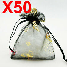 50 MEDIUM Black butterfly organza candy gift bags jewellery favour pouches wrap