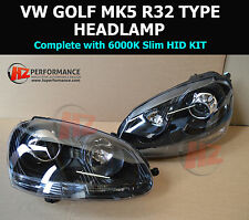 VW GOLF MK5 R32 TYPE PROJECTOR HEADLIGHTS | BLACK EDITION | gti r32