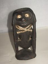 Oceanic Primitive art rare mini carved wood squatting ceremonial fig. new guinea