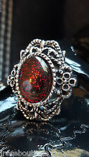 shd HALLOWEEN Blood Red Goth Vampire Amulet Renaissance Medieval Ring Adjustable