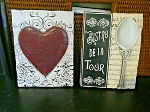 """SET OF 2 New View Gifts ~ RED HEART LOVE  BISTRO DE LA TOUR Wall Plaque 6""""X 8"""""""