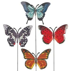 Four Pack Metal Garden Butterfly Pick Yard Art Home Centerpiece Ornament Steel