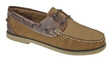 MENS SIZE 7 8 9 10 11 12 BROWN NUBUCK LEATHER LACE BOAT DECK SAILING YACHT SHOES