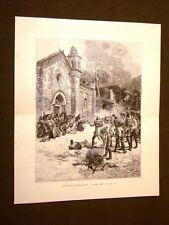 Risorgimento d'Italia 15 maggio 1848 a Napoli Castelnuovo Incisione di E.Matania