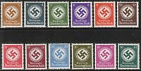 Stamp Germany Official Mi 166-77 Sc O92-103 1942 WWII War Era MNH