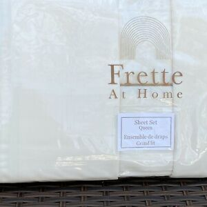 Frette at Home Ivory Caramel Queen 4 pc sheet set New Luxury PERCALE