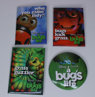 Pixar A Bug's Life Set of 4 Theatrical Promotional Pinback Buttons Vintage 1998
