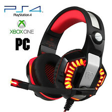 Pro Gamer PS4 Headset for PlayStation 4 Xbox One & PC Computer Red Headphones 4