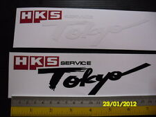 2 HKS Tokyo service di-cut vinyl sticker decals, JDM aftermarket racing sponsor.