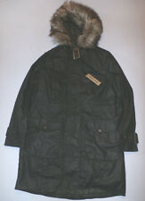 River Island Women's Waxed Cotton Faux Fur Hooded Parka Jacket Size 8 NWT