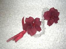 NEW Beautiful Beaded Wine Coloured Double Flower Wedding Corsage & Satin Ribbon
