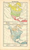 1908 Mapa ~ América Del Norte Temperatura Y Lluvia