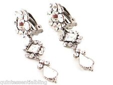 Victorian Antiqued Silver Clear Crystal Swarovski Elements Clip on Earrings