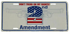 """Don't Tread On My Rights! 2nd Amendment White Guns 6""""x12"""" License Plate Sign"""