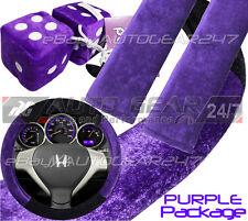 Purple Fabric Car Steering Wheel Cover,Seat Belt Harness Pad, Furry Hanging Dice