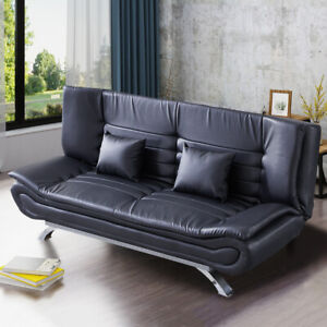 Upholstered Faux Leather Sofa Bed 3 Seater Couch Double Sleeper Recliner Sofabed