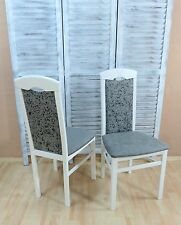 2x Esszimmerstühle Massivholz Buche Esszimmerstuhl Stühle Farbe: Weiß/Graphit