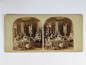 Children Causing Chaos In A Dining Room - Genre Stereoview c1850s