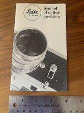 Rare Leitz Wetzlar (Leica) Lens Brochure Booklet Printed in Germany 100-12/Engl.
