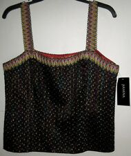 NWT $250 Juliana Collezione Black Top EPIC COLORS Lined,Shoulder Straps, Zips 12