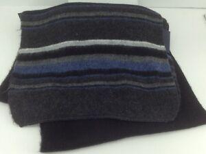 Men's Women's TOMMY HILFIGER Long Black Striped Winter Scarf - $68 MSRP