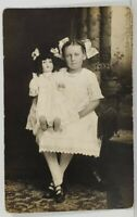 Rppc Darling Young Girl Antique Doll Pretty White Dress & Bow c1910 Postcard N19