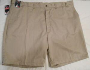 ROUNDTREE & YORKE big mens tan TravelSmart flat front khaki shorts size 52 NWT