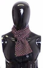 NEW DOLCE & GABBANA Scarf Men's Brown Polka Dotted Silk Wool Wrap Necktie