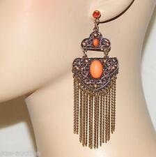 DANGLE CHANDELIER ORANGE BEADED BRONZE EARRINGS