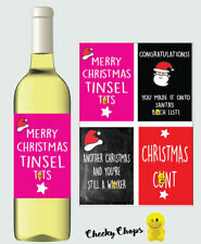 4 X Funny Christmas Wine Labels Mum Dad Brother Sister Best Friend Work - RUDE
