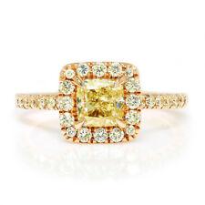 Cushion Fancy Yellow Diamond Halo Ring 14K Rose Gold A.Jaffe 1.60ctw